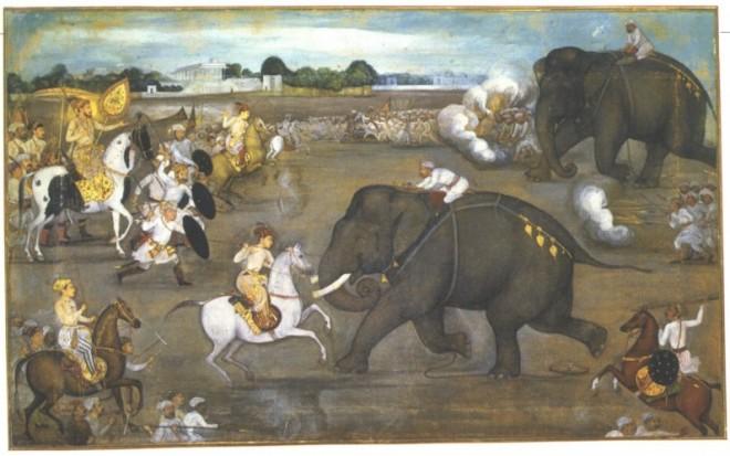 Prince_Awrangzeb_Aurangzeb_facing_a_maddened_elephant_named_Sudhakar_7_June_1633-e1469777622240