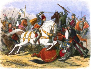 798px-A_Chronicle_of_England_-_Page_453_-_Richard_III_at_Bosworth
