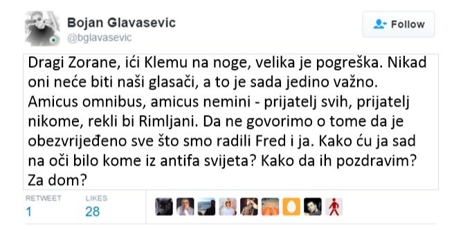 Bojan Glavašević twitao pa izbrisao twit protiv Milanovića 24-8-2016- 2-03-53