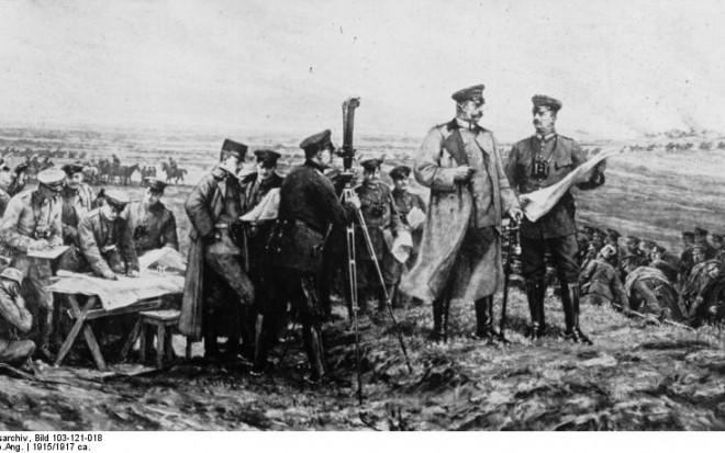 Hindenburg auf dem Schlachtfeld bei Tannenberg [1. Weltkrieg]
