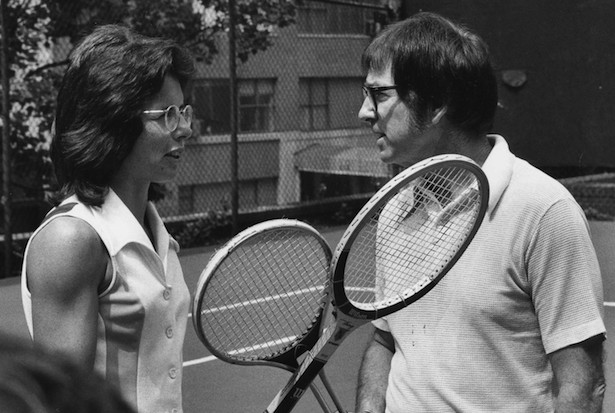 "TENNIS - 8/13/1973 - Bobby Riggs taunted all female tennis players, prompting Billie Jean King to accept a lucrative financial offer to play Riggs in a nationally televised match dubbed the ""Battle of the Sexes"","" airing on the ABC Television Network.  Both competitors practiced and held press conferences in advance of the event.   (Photo by ABC SPORTS)  BILLIE JEAN KING, BOBBY RIGGS"