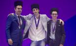Velemajstori slijeva: Dominguez, Jobava i prva ploča pobjednika  Fabiano Caruana