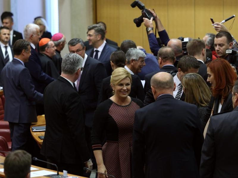 14.10.2016., Zagreb - Prvo zasjedanje Hrvatskoga sabora u 9. sazivu. Predsjednica RH Kolinda Grabar-Kitarovic.  Photo: Patrik Macek/PIXSELL