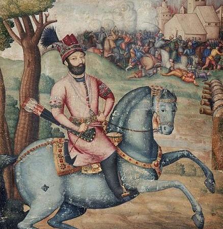Nadir_Shah_at_the_sack_of_Delhi_-_Battle_scene_with_Nader_Shah_on_horseback,_possibly_by_Muhammad_Ali_ibn_Abd_al-Bayg_ign_Ali_Quli_Jabbadar,_mid-18th_century,_Museum_of_Fine_Arts,_